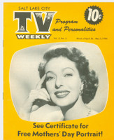 1954 TV Weekly Apr 26 Loretta Young (16 pages) Salt Lake City edition Excellent to Mint - No Mailing Label  [Lt wear and contents on both covers; contents fine]