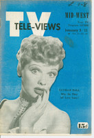 1952 TV Televiews January 5 Lucille Ball (24 pg) Midwest edition Very Good - No Mailing Label  [Crease on cover and interior pages, lt staining on cover, period notation]