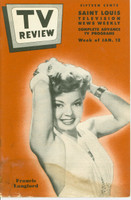 1952 TV Review January 12 Francis Langford (24 pgs) St. Louis edition Fair to Good - No Mailing Label  [Heavy staining from moisture throughout bottom 1/3 of book; listings fine]