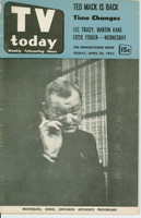 1953 TV TODAY April 24 Spike Jones (40 pg) Detroit edition Fair to Good - No Mailing Label  [Both Covers are DETACHED; wear on covers, contents fine]