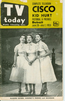 1953 TV TODAY June 26 The McGuire Sisters (40 pg) Detroit edition Fair to Good - No Mailing Label  [Heavy wear on cover, creasing; contents fine]