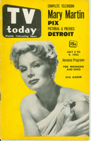 1953 TV TODAY July 3 Eva Gabor (40 pg) Detroit edition Very Good - No Mailing Label  [Heavy wear on cover, creasing; contents fine]