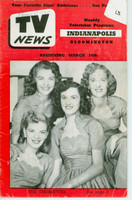 1952 TV News March 14 The Chordettes Indiana edition Very Good  [Wear, creasing and small moisture stain on cover; contents fine]