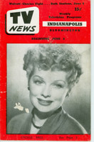 1952 TV News June 6 Lucille Ball Indiana edition Good to Very Good  [Wear and creasing on cover, small paper loss on cover; contents fine]
