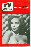 1953 TV News September 25 Diana Lynn Indiana edition Very Good to Excellent - No Mailing Label  [Lt wear on cover; contents fine]