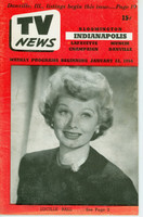 1954 TV News January 22 Lucille Ball Indiana edition Very Good to Excellent - No Mailing Label  [Lt wear on cover; contents fine]