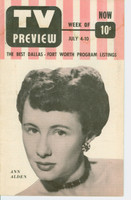 1953 TV PREVIEW July 4 Ann Alden (16 pg) Dallas-Forth Worth edition Very Good  [Lt wear and moisture staining on cover; label on reverse]