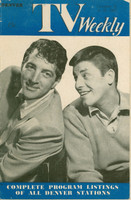 1955 TV Weekly October 10 Dean Martin and Jerry Lewis (32 pg_ Denver edition Very Good  [Heavy wear on cover and binding; contents fine, mail label on reverse]