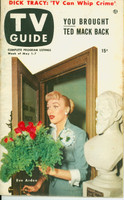 1953 TV Guide May 1 Eve Arden of Our Miss Brooks Philadelphia edition Very Good to Excellent - No Mailing Label  [Heavy toning on cover; contents fine]