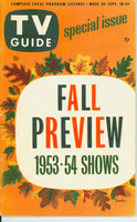 1953 TV Guide Sep 18 Fall Preview 1953-54 Season New England edition Excellent - No Mailing Label  [Lt wear on cover, ow clean]