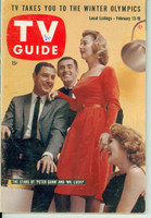 1960 TV Guide Feb 13 Cast of Peter Gunn and Mr Lucky Michigan State edition Excellent - No Mailing Label  [Lt wear on cover; # WRT in logo; contents fine]