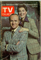 1973 TV Guide Jan 20 Bob Newhart and Suzanne Pleshette of Newhart (First Cover) Central Indiana edition Very Good to Excellent - No Mailing Label  [Heavy toning and lt discoloration on cover, contents fine]