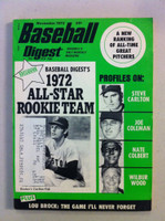 1972 Baseball Digest November Carlton Fisk (First Cover) (from the Red Schoendienst Collection) Very Good to Excellent
