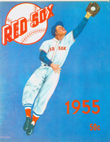 1955 Red Sox Yearbook Very Good Part of top binding is split; lt wear on cover, contents fine