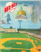 1957 Red Sox Yearbook (2 pages have cutouts restored) Very Good Pages 23/24 have cutouts which have been reapplied with tape; ow vg/ex