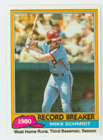 1981 Topps Baseball 206 Mike Schmidt HL Philadelphia Phillies Near-Mint