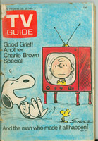 1972 TV Guide Oct 28 Charlie Brown and Peanuts Special Eastern New England edition Good to Very Good - No Mailing Label  [Very loose at staples, wear on cover, contents fine]