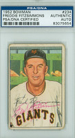 Fred Fitzsimmons AUTOGRAPH d.79 1952 Bowman #234 Giants HIGH NUMBER PSA/DNA CARD IS F/P; CREASES, AUTO CLEAN  [SKU:FitzF3864_BW52BBpa]