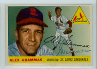 Alex Grammas AUTOGRAPH 1955 Topps #21 Cardinals  CARD IS VG/EX; CLEAN
