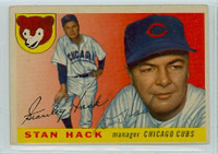 Stan Hack AUTOGRAPH d.79 1955 Topps #6 Cubs  CARD IS G/VG