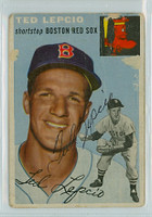 Ted Lepcio AUTOGRAPH 1954 Topps #66 Red Sox POOR Back Damage   [SKU:LepcT264_T54BB]