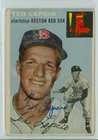 Ted Lepcio AUTOGRAPH 1954 Topps TOUGH SERIES #66 Red Sox  CARD IS POOR  [SKU:LepcT264_T54BBR2jl]