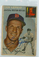Ted Lepcio AUTOGRAPH 1954 Topps TOUGH SERIES #66 Red Sox  STAIN  [SKU:LepcT264_T54BBR3jl]