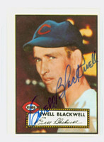 Ewell Blackwell HIGH # AUTOGRAPH d.96 1952 Topps 1983 Reprint Reds 