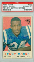 Lenny Moore AUTOGRAPH 1959 Topps Football Colts PSA/DNA 