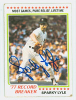 Sparky Lyle AUTOGRAPH 1978 Topps #2 Yankees Highlight CARD IS G/VG