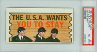 1964 Beatles Plaks 51 The USA Want You To Stay PSA 8 Near Mint to Mint
