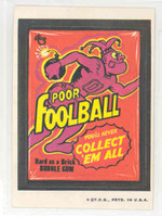 1973 Wacky Pack Series 3 16 Foolball Bubble Gum Near-Mint Plus TAN