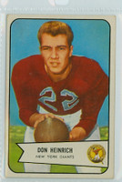 1954 Bowman Football 92 Don Heinrich ROOKIE New York Giants Very Good to Excellent