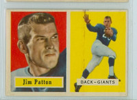 1957 Topps Football 83 Jim Patton ROOKIE New York Giants Very Good to Excellent