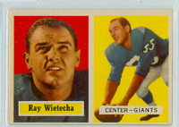 1957 Topps Football 122 Ray Wietecha New York Giants Excellent