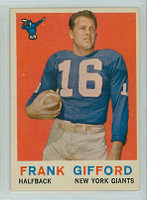 1959 Topps Football 20 Frank Gifford New York Giants Excellent