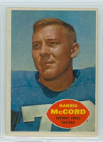1960 Topps Football 45 Darris McCord Detroit Lions Excellent to Excellent Plus