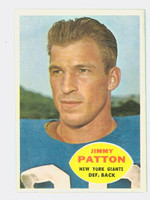 1960 Topps Football 79 Jim Patton New York Giants Excellent to Excellent Plus