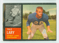 1962 Topps Football 56 Yale Lary Detroit Lions Very Good to Excellent