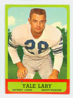 1963 Topps Football 33 Yale Lary Detroit Lions Very Good