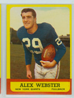 1963 Topps Football 51 Alex Webster Single Print New York Giants Excellent to Excellent Plus