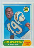 1968 Topps Football 66 Jim Warren Miami Dolphins Excellent to Mint