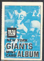 1969 Topps Football 4-1 Booklets 11 New York Giants Excellent to Mint