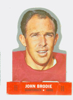 1968 Topps Football Stand Up 2 John Brodie San Francisco 49ers Punched