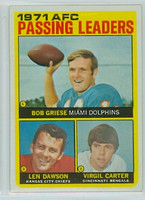 1972 Topps Football 3 AFC passing leaders Excellent