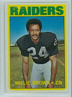 1972 Topps Football 28 Willie Brown Oakland Raiders Excellent to Excellent Plus