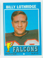 1971 Topps Football 29 Billy Lothridge Atlanta Falcons Excellent to Mint