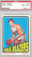 1972 Topps Basketball 3 Geoff Petrie Portland Trail Blazers PSA 8 Near Mint to Mint