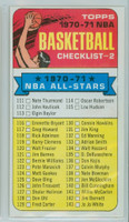 1970 Topps Basketball 101 Checklist Two Excellent to Mint