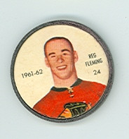 1961-62 Shiriff Hockey Coins 24 Reg Fleming Chicago Black Hawks Excellent to Mint